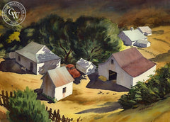 White Barns, c. 1935, California art by Nat Levy. HD giclee art prints for sale at CaliforniaWatercolor.com - original California paintings, & premium giclee prints for sale