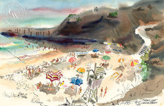 Divers Cove, Laguna Beach, 1943, California watercolor art by Noel Quinn. HD giclee art prints for sale at CaliforniaWatercolor.com - original California paintings, & premium giclee prints for sale