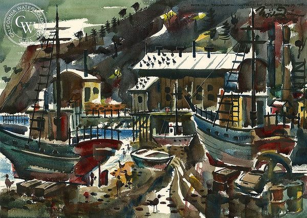 Noel Quinn - California Harbor Scene, 1954, California art, original California watercolor art for sale - CaliforniaWatercolor.com
