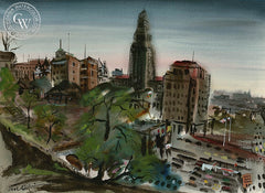 City Hall, Los Angeles, 1943, California art by Noel Quinn. HD giclee art prints for sale at CaliforniaWatercolor.com - original California paintings, & premium giclee prints for sale