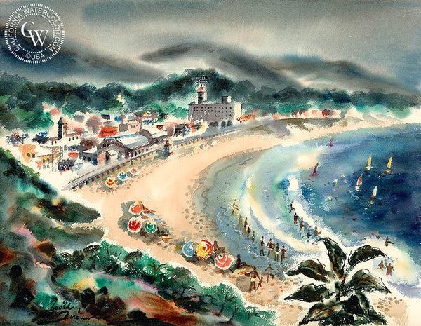 Main Beach Laguna, 1940, California art by Noel Quinn. HD giclee art prints for sale at CaliforniaWatercolor.com - original California paintings, & premium giclee prints for sale