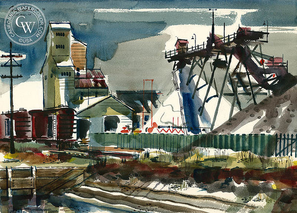 Salt Mine, San Diego, 1954, California art by Noel Quinn. HD giclee art prints for sale at CaliforniaWatercolor.com - original California paintings, & premium giclee prints for sale