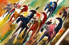 Untitled Horse Race, California watercolor art by Noel Quinn. HD giclee art prints for sale at CaliforniaWatercolor.com - original California paintings, & premium giclee prints for sale