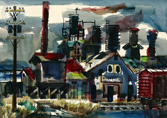 West Vaco Chemical Division, 1954, California art by Noel Quinn. HD giclee art prints for sale at CaliforniaWatercolor.com - original California paintings, & premium giclee prints for sale