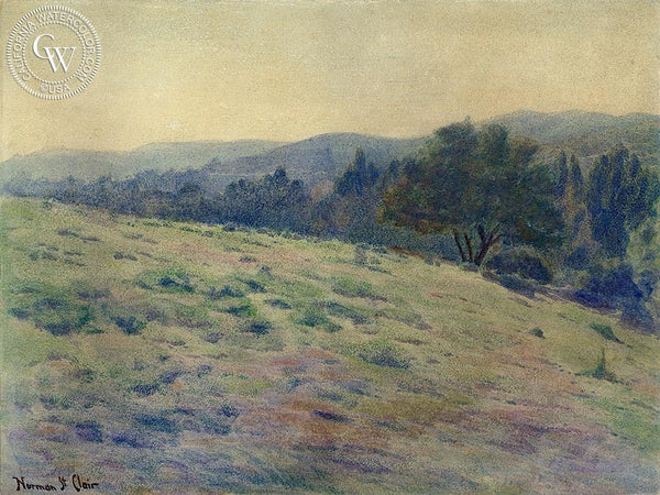 California Hillside, California art by Norman St. Clair. HD giclee art prints for sale at CaliforniaWatercolor.com - original California paintings, & premium giclee prints for sale