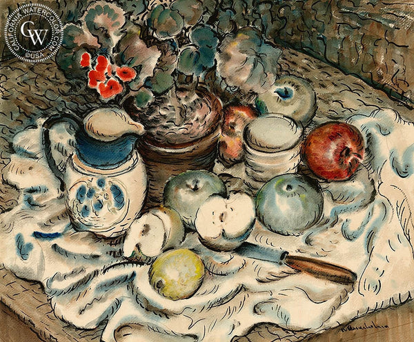 Apples and Milk Pitcher Still Life, c. 1945, California art by Norman Stiles Chamberlain. HD giclee art prints for sale at CaliforniaWatercolor.com - original California paintings, & premium giclee prints for sale