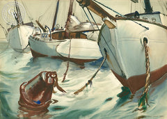 Moored Sailboats, 1936, California art by Paul Julian. HD giclee art prints for sale at CaliforniaWatercolor.com - original California paintings, & premium giclee prints for sale