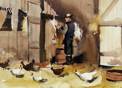Dressing Poultry, California art by Paul Sample. HD giclee art prints for sale at CaliforniaWatercolor.com - original California paintings, & premium giclee prints for sale