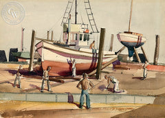 Drydock, California art by Paul Sample. HD giclee art prints for sale at CaliforniaWatercolor.com - original California paintings, & premium giclee prints for sale