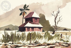 The Red Barn, California art by Paul Sample. HD giclee art prints for sale at CaliforniaWatercolor.com - original California paintings, & premium giclee prints for sale