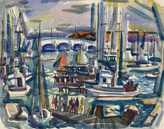 Balboa Bridge, 1950, California art by Phil Dike. HD giclee art prints for sale at CaliforniaWatercolor.com - original California paintings, & premium giclee prints for sale