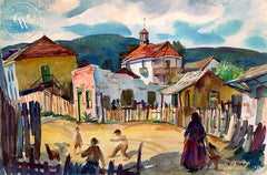 Ensenada, c. 1930's, California art by Phil Dike. HD giclee art prints for sale at CaliforniaWatercolor.com - original California paintings, & premium giclee prints for sale