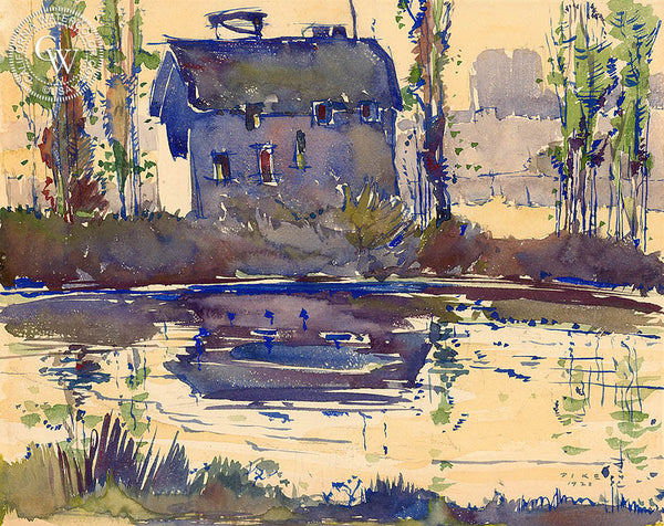 Old Mill, Olive, 1928, California art by Phil Dike. HD giclee art prints for sale at CaliforniaWatercolor.com - original California paintings, & premium giclee prints for sale