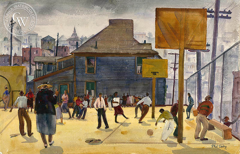 Playground Temple Street School Los Angeles 1932 Art By