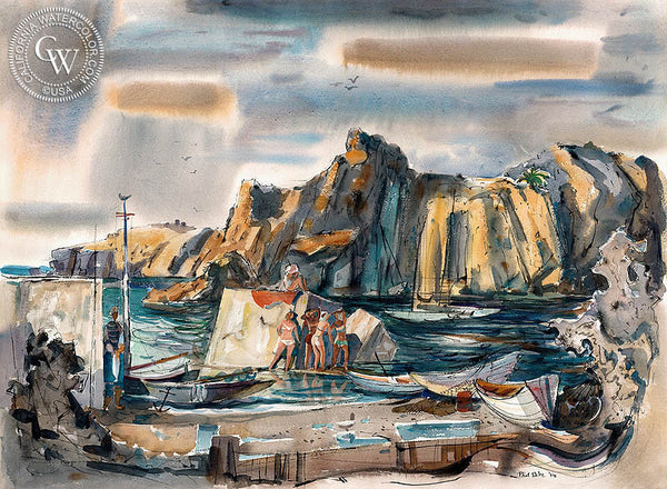 Sunbathing on the Rocks, 1958, California art by Phil Dike. HD giclee art prints for sale at CaliforniaWatercolor.com - original California paintings, & premium giclee prints for sale
