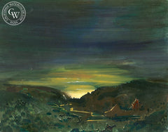 Sunset in the Valley, 1940, California art by Phil Dike. HD giclee art prints for sale at CaliforniaWatercolor.com - original California paintings, & premium giclee prints for sale