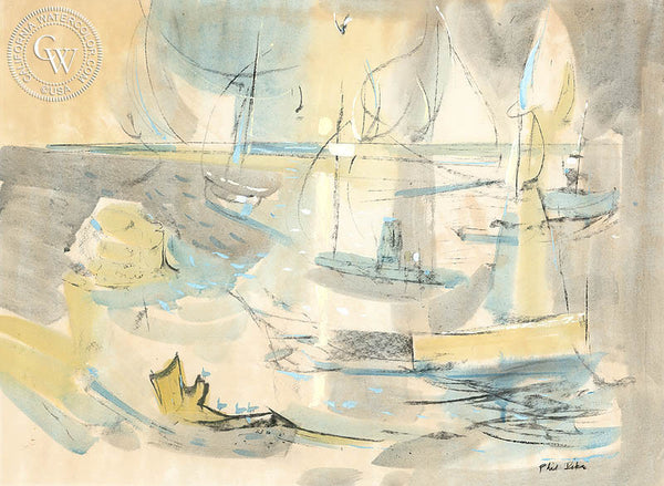 Harbor Theme #4, 1950, California watercolor art by Phil Dike. HD giclee art prints for sale at CaliforniaWatercolor.com - original California paintings, & premium giclee prints for sale