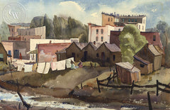 Washday, 1935, California art by Phil Dike. HD giclee art prints for sale at CaliforniaWatercolor.com - original California paintings, & premium giclee prints for sale
