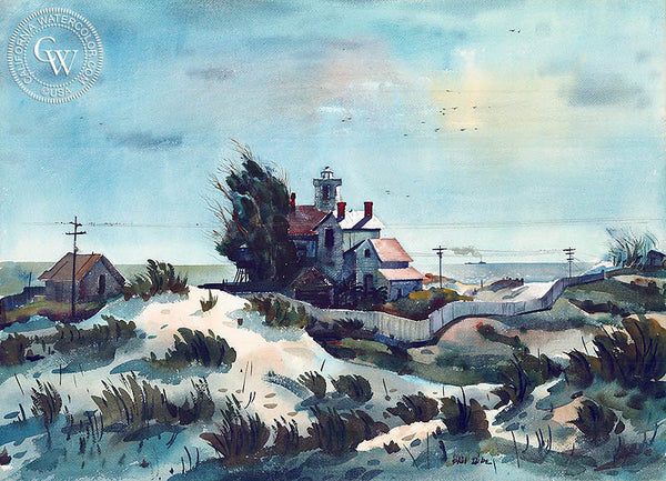 Windswept, Point Hueneme, c. 1935, California art by Phil Dike. HD giclee art prints for sale at CaliforniaWatercolor.com - original California paintings, & premium giclee prints for sale