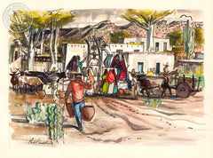 Gathering at the Well, Sonora, Mexico, 1951, California art by Phil Paradise. HD giclee art prints for sale at CaliforniaWatercolor.com - original California paintings, & premium giclee prints for sale
