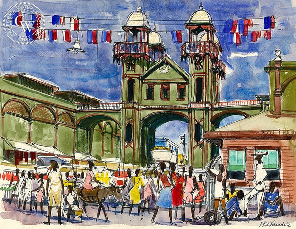 Haiti, Downtown, 1954, California art by Phil Paradise. HD giclee art prints for sale at CaliforniaWatercolor.com - original California paintings, & premium giclee prints for sale