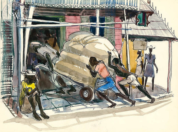 Haiti, Movers, 1954, California art by Phil Paradise. HD giclee art prints for sale at CaliforniaWatercolor.com - original California paintings, & premium giclee prints for sale