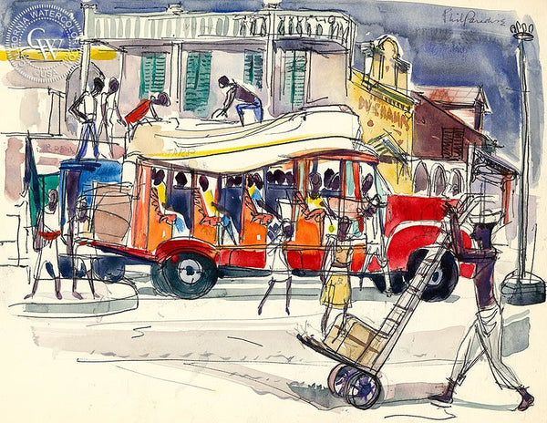 Haiti, Old Bus, 1954, California art by Phil Paradise. HD giclee art prints for sale at CaliforniaWatercolor.com - original California paintings, & premium giclee prints for sale