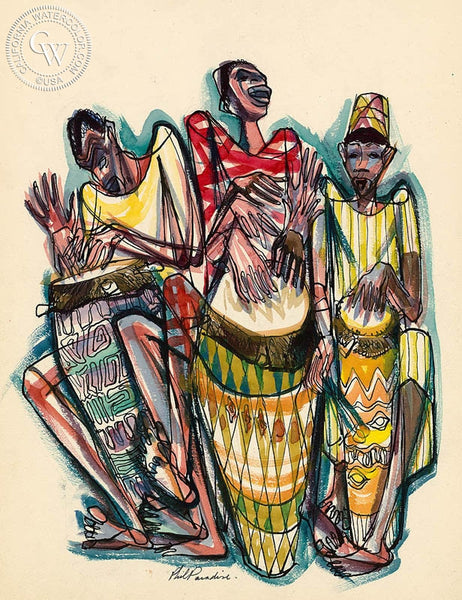 Haiti, Rhythm, 1954, California art by Phil Paradise. HD giclee art prints for sale at CaliforniaWatercolor.com - original California paintings, & premium giclee prints for sale