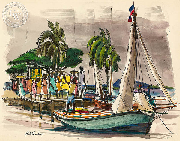 Haiti, Traders, 1954, California art by Phil Paradise. HD giclee art prints for sale at CaliforniaWatercolor.com - original California paintings, & premium giclee prints for sale