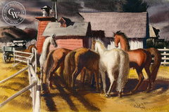 Untitled Horses in Corral, 1935, California art by Phil Paradise. HD giclee art prints for sale at CaliforniaWatercolor.com - original California paintings, & premium giclee prints for sale
