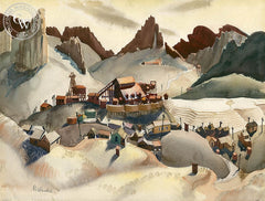 Mining Town, 1938, California art by Phil Paradise. HD giclee art prints for sale at CaliforniaWatercolor.com - original California paintings, & premium giclee prints for sale