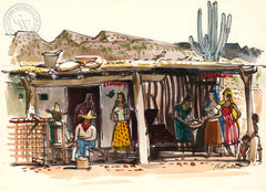 Pepper Drying, Sonora, Mexico, 1951, California art by Phil Paradise. HD giclee art prints for sale at CaliforniaWatercolor.com - original California paintings, & premium giclee prints for sale