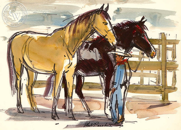 Ranch Studies, 1952, California art by Phil Paradise. HD giclee art prints for sale at CaliforniaWatercolor.com - original California paintings, & premium giclee prints for sale