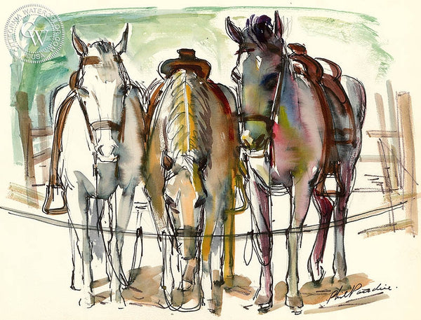 Ranch Studies 8, 1952, California art by Phil Paradise. HD giclee art prints for sale at CaliforniaWatercolor.com - original California paintings, & premium giclee prints for sale