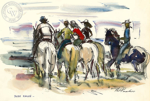 Ranch Studies, Dude Ranch, 1952, California art by Phil Paradise. HD giclee art prints for sale at CaliforniaWatercolor.com - original California paintings, & premium giclee prints for sale