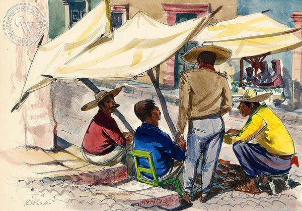 San Miguel de Allende, Conversation, 1953, California art by Phil Paradise. HD giclee art prints for sale at CaliforniaWatercolor.com - original California paintings, & premium giclee prints for sale