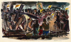 San Miguel de Allende, Crosses, 1953, California art by Phil Paradise. HD giclee art prints for sale at CaliforniaWatercolor.com - original California paintings, & premium giclee prints for sale