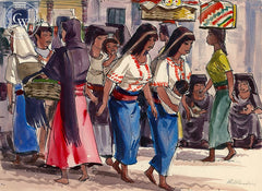 San Miguel de Allende, Ladies, 1953, California art by Phil Paradise. HD giclee art prints for sale at CaliforniaWatercolor.com - original California paintings, & premium giclee prints for sale
