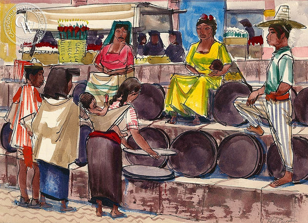 San Miguel de Allende, Market Scene 4, 1953, California art by Phil Paradise. HD giclee art prints for sale at CaliforniaWatercolor.com - original California paintings, & premium giclee prints for sale