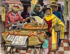 San Miguel de Allende, Market Scene, 1953, California art by Phil Paradise. HD giclee art prints for sale at CaliforniaWatercolor.com - original California paintings, & premium giclee prints for sale