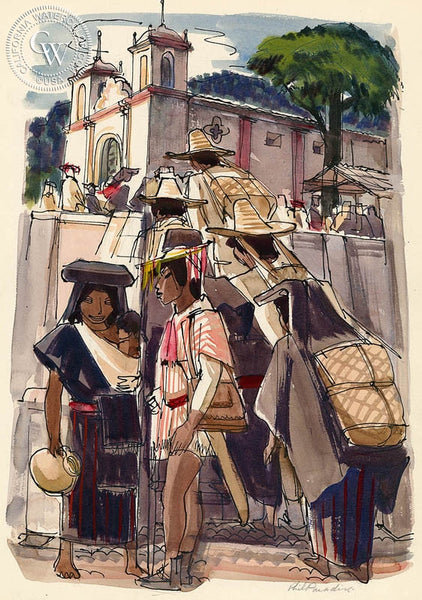 San Miguel de Allende, Mission, 1953, California art by Phil Paradise. HD giclee art prints for sale at CaliforniaWatercolor.com - original California paintings, & premium giclee prints for sale