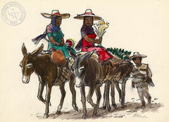 San Miguel de Allende, Mules, 1953, California art by Phil Paradise. HD giclee art prints for sale at CaliforniaWatercolor.com - original California paintings, & premium giclee prints for sale