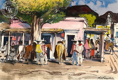 Sonora, Horse Town, 1951, California art by Phil Paradise. HD giclee art prints for sale at CaliforniaWatercolor.com - original California paintings, & premium giclee prints for sale