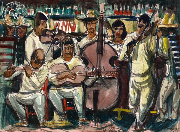 Sonora, Mariachi, 1951, California art by Phil Paradise. HD giclee art prints for sale at CaliforniaWatercolor.com - original California paintings, & premium giclee prints for sale