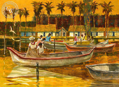 Untitled Caribbean Fishing Village, 1950, California watercolor art by Phil Paradise. HD giclee art prints for sale at CaliforniaWatercolor.com - original California paintings, & premium giclee prints for sale