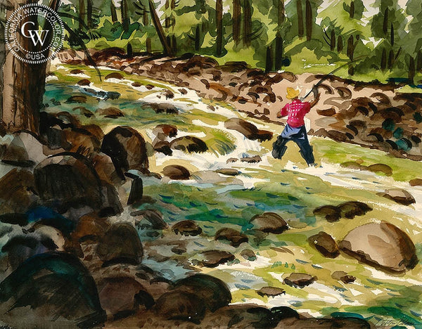 Fly Fishing, California art by Preston Blair. HD giclee art prints for sale at CaliforniaWatercolor.com - original California paintings, & premium giclee prints for sale
