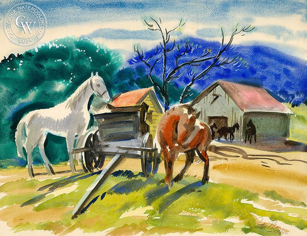 Horses, 1946, California art by Preston Blair. HD giclee art prints for sale at CaliforniaWatercolor.com - original California paintings, & premium giclee prints for sale