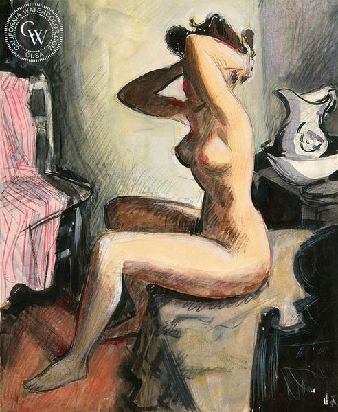 Nude II, California art by Preston Blair. HD giclee art prints for sale at CaliforniaWatercolor.com - original California paintings, & premium giclee prints for sale