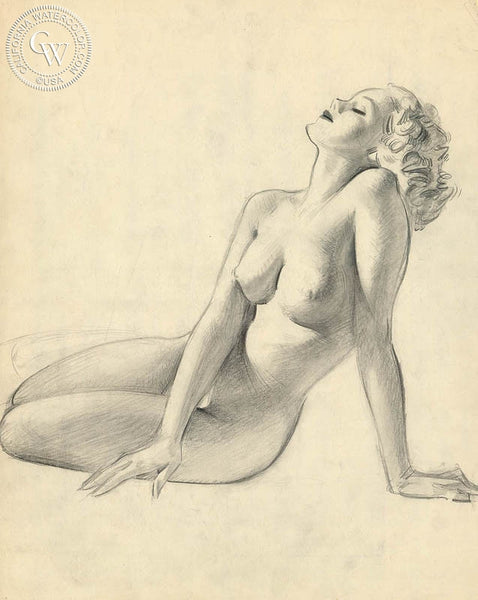 Nude, California art by Preston Blair. HD giclee art prints for sale at CaliforniaWatercolor.com - original California paintings, & premium giclee prints for sale