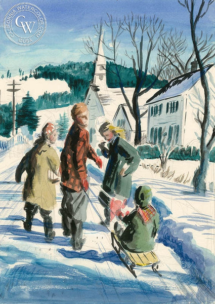 Sledding, California art by Preston Blair. HD giclee art prints for sale at CaliforniaWatercolor.com - original California paintings, & premium giclee prints for sale
